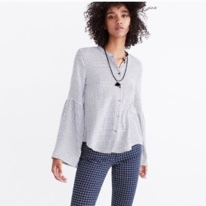 Madewell grid plaid top with bell sleeves